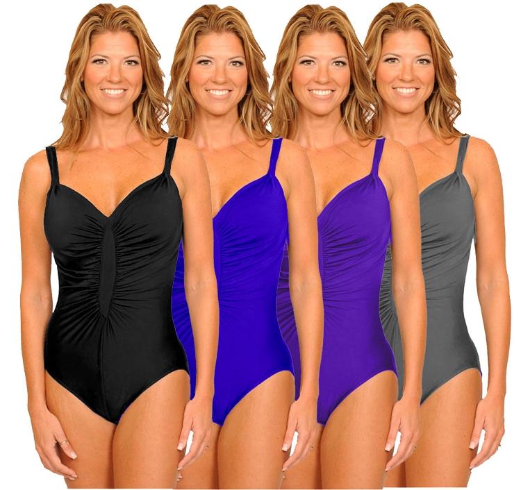 04650ca470d Slimsuit by Carol Wior  Starburst Slimming Shirred Front Tank 3052 S