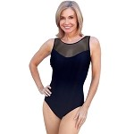 SLIMSUIT by Carol Wior:   High Neck Swimsuit with Neptunes Net Mesh Tank  10-1497R