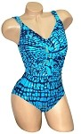 Slimsuit by Carol Wior:  Blue Alligator Shirred Front Tank 3052S_964-CH