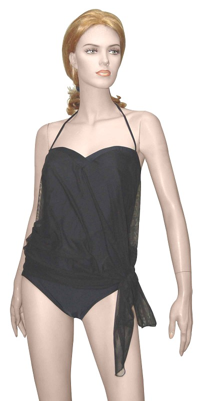 Slimsuit by Carol Wior:  Black Bandeau With Attached  Mesh Cover-up Swimsuit 4147B