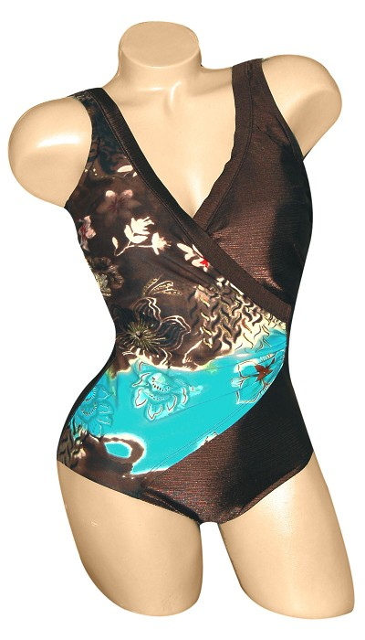 Carol Wior Swimsuit:   Side Drape One Piece Oriental Garden Slimsuit with Control  A173_OG
