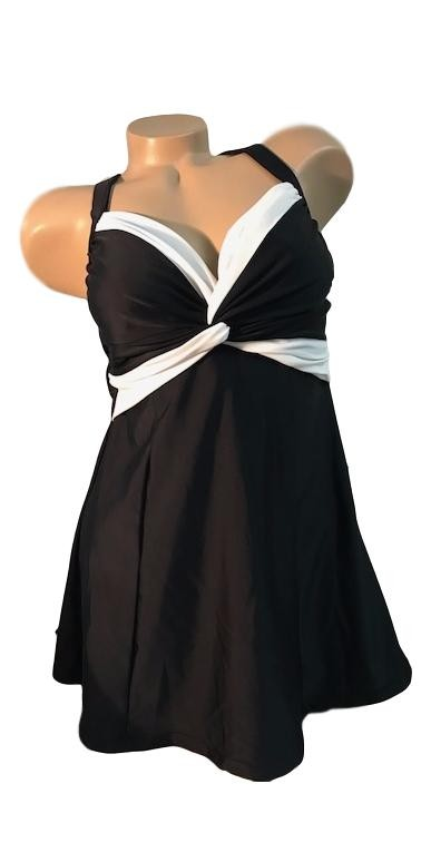Carol Wior Twist Front Black and White Swimdress A144CR