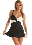 SLIMSUIT by Carol Wior:  Classic Black and White Twist Swimdress #A144
