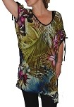 Carol Wior Tropical Open Tie Sleeve Sheer Top N4669-Trop