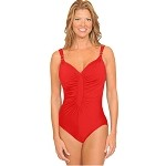 SLIMSUIT by Carol Wior:  Crown Jewels Diamond Front Shirred Suit 3052S Red