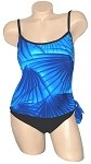 SLIMSUIT by Carol Wior:  Island Palm 1 Pc Tankini with Side Tie  3671IP