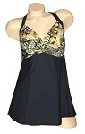 Carol Wior Swimdress Brown Maharaja Twist Front    A103MJB